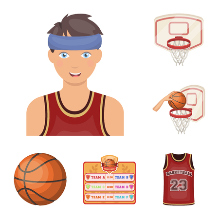 Basketball and attributes cartoon icons in set collection for design.Basketball player and equipment vector symbol stock  illustration. Ilustração