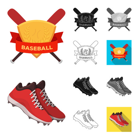 Baseball and attributes cartoon,black,flat,monochrome,outline icons in set collection for design.Baseball player and equipment vector symbol stock  illustration.