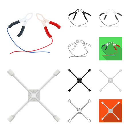 Car, lift, pump and other equipment cartoon,black,flat,monochrome,outline icons in set collection for design. Car maintenance station vector symbol stock illustration . 일러스트