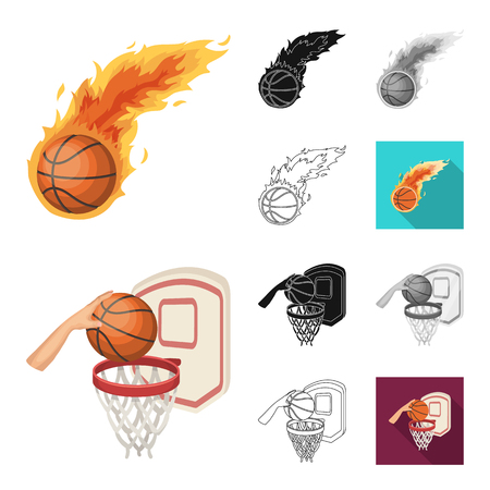 Basketball and attributes cartoon,black,flat,monochrome,outline icons in set collection for design.Basketball player and equipment vector symbol stock  illustration.
