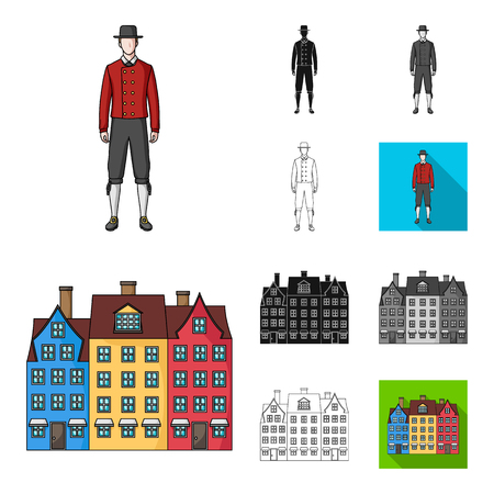 Traveling in Denmark cartoon,black,flat,monochrome,outline icons in set collection for design. Denmark and attractions vector symbol stock web illustration.