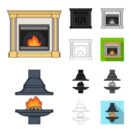 Different kinds of fireplaces cartoon,black,flat,monochrome,outline icons in set collection for design.Fireplaces construction vector symbol stock  illustration.