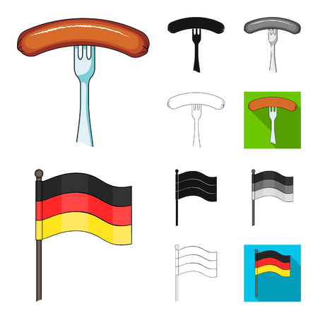 Country Germany cartoon,black,flat,monochrome,outline icons in set collection for design. Germany and landmark vector symbol stock illustration.