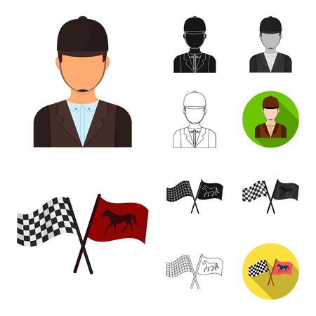Hipódromo y dibujos animados de caballos, negro, plano, monocromo, iconos de contorno de colección set de diseño. Carreras de caballos y equipo vector símbolo stock de ilustración.