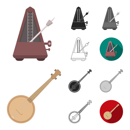 Musical instrument cartoon,black,flat,monochrome,outline icons in set collection for design. String and Wind instrument vector symbol stock  illustration. Illustration