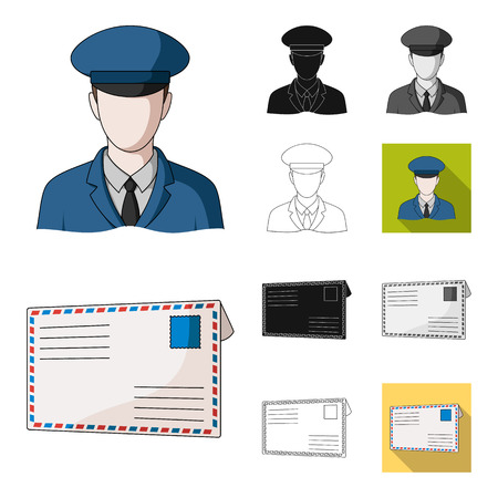 Mail and postman cartoon,black,flat,monochrome,outline icons in set collection for design. Mail and equipment vector symbol stock  illustration.