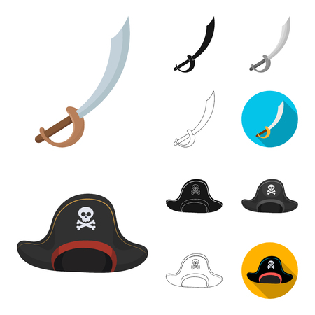 Pirate, sea robber cartoon,black,flat,monochrome,outline icons in set collection for design. Treasures, attributes vector symbol stock  illustration.