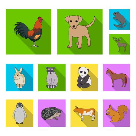 Icônes plates d'animaux réalistes dans la collection de jeu pour la conception. Illustration stock de symbole de vecteur d'animaux sauvages et domestiques. Vecteurs