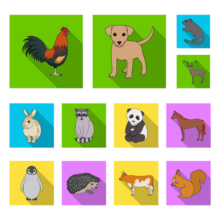 Realistic animals flat icons in set collection for design. Wild and domestic animals vector symbol stock  illustration.