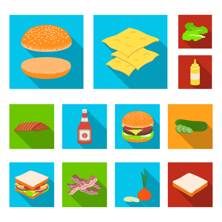 Burger and ingredients flat icons in set collection for design. Burger cooking vector symbol stock  illustration. Vettoriali
