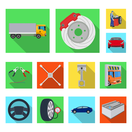 Car, lift, pump and other equipment flat icons in set collection for design. Car maintenance station vector symbol stock illustration . Banque d'images - 102740738