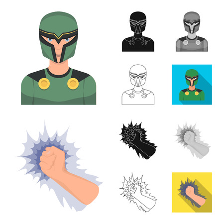 A fantastic superhero cartoon,black,flat,monochrome,outline icons in set collection for design. Superheros equipment vector symbol stock  illustration.