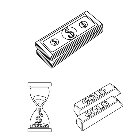 Money and Finance outline icons in set collection for design. Business and Success vector symbol stock web illustration.  イラスト・ベクター素材