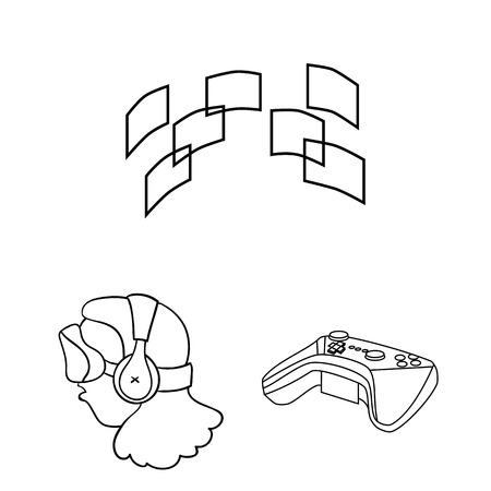 A virtual reality outline icons in set collection for design. Modern technology and equipment vector symbol stock web illustration.