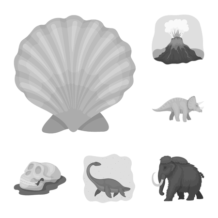 Different dinosaurs monochrome icons in set collection for design. Prehistoric animal vector symbol stock web illustration. Çizim