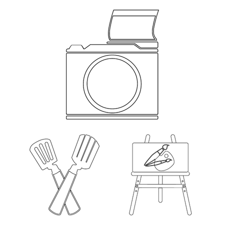 Picnic and equipment outline icons in set collection for design. Picnic in the nature vector symbol stock web illustration.
