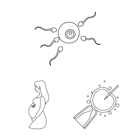 Woman and pregnancy outline icons in set collection for design. Gynecology and equipment vector symbol stock web illustration. Illustration