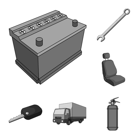 Car, vehicle monochrome icons in set collection for design. Car and equipment vector symbol stock web illustration. Çizim