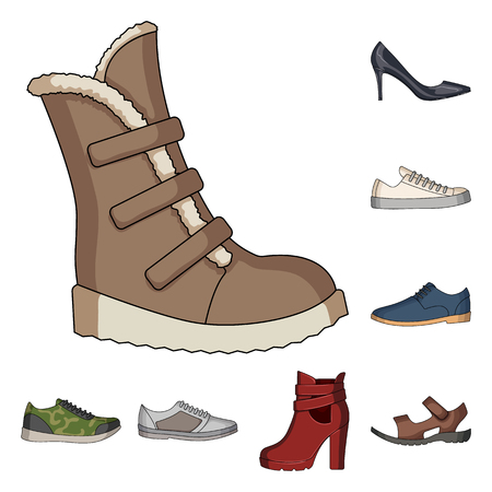 Different shoes cartoon icons in set collection for design. Mens and womens shoes vector symbol stock web illustration.