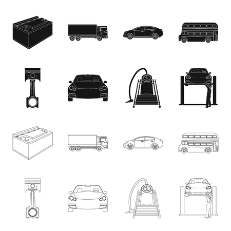 Car on lift, piston and pump black,outline icons in set collection for design.Car maintenance station vector symbol stock illustration web.