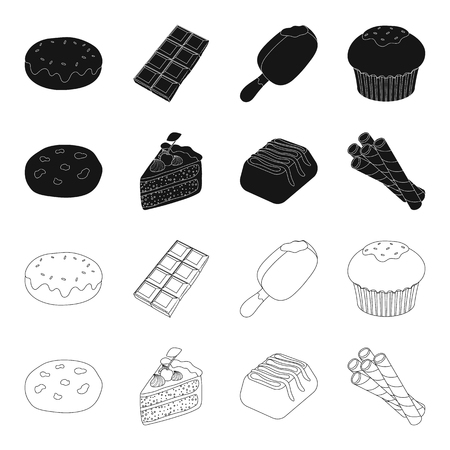 American cookies, a piece of cake, candy, wafer tubule. Chocolate desserts set collection icons in black,outline style vector symbol stock illustration web.