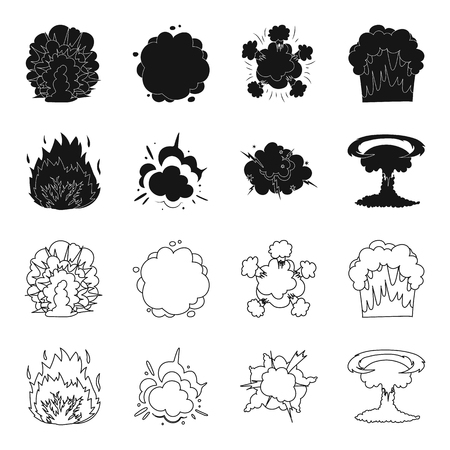 Flamme, étincelles, fragments d'hydrogène, explosion atomique ou gazeuse. Explosions définir des icônes de la collection en noir, contour style vecteur symbole stock illustration web.