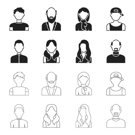 Boy blond, bald man, girl with tails, woman.Avatar set collection icons in black,outline style vector symbol stock illustration web. Illustration