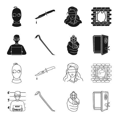 Photo of criminal, scrap, open safe, directional gun.Crime set collection icons in black,outline style vector symbol stock illustration web.