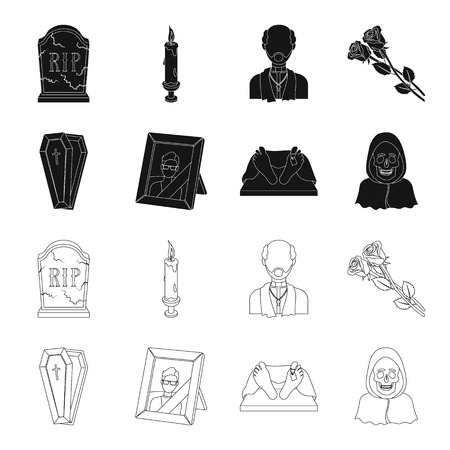Coffin with a lid and a cross, a photograph of the deceased with a mourning ribbon, a corpse on the table with a tag in the morgue, death in a hood. Funeral ceremony set collection icons in black,outline style vector symbol stock illustration web.