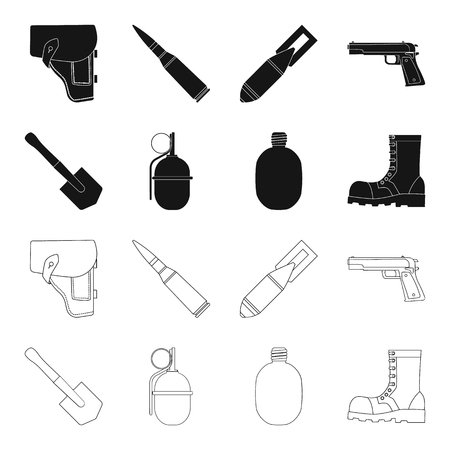 Sapper blade, hand grenade, army flask, soldiers boot. Military and army set collection icons in black,outline style vector symbol stock illustration web. Ilustração