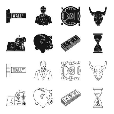 Bank, business schedule, bundle of notes, time money. Money and Finance set collection icons in black,outline style vector symbol stock illustration web. Stock Illustratie