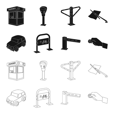 Car, parking barrier, bicycle parking place, coin in hand for payment. Parking zone set collection icons in black,outline style vector symbol stock illustration web.