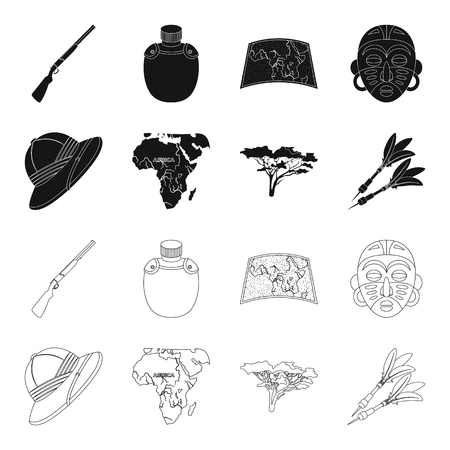 Cork hat, darts, savannah tree, territory map. African safari set collection icons in black,outline style vector symbol stock illustration web. Stock Illustratie
