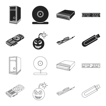 Video card, virus, flash drive, cable. Personal computer set collection icons in black,outline style vector symbol stock illustration web.