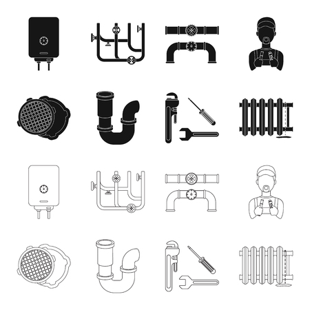 Sewage hatch, tool, radiator.Plumbing set collection icons in black,outline style vector symbol stock illustration web. Illusztráció