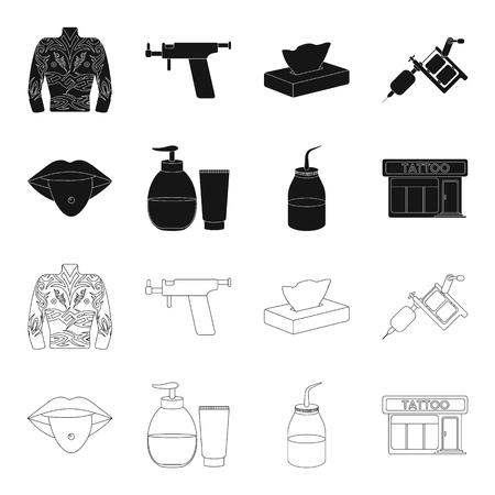 Piercing dans la langue, gel, sallon. Tatouage mis icônes de la collection en noir, style de contour vecteur symbole stock illustration web.