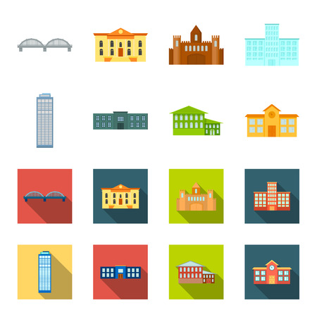 Skyscraper, police, hotel, school.Building set collection icons in cartoon,flat style vector symbol stock illustration web.