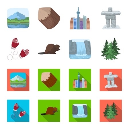 Canadian fir, beaver and other symbols of Canada.Canada set collection icons in cartoon,flat style vector symbol stock illustration web.  イラスト・ベクター素材