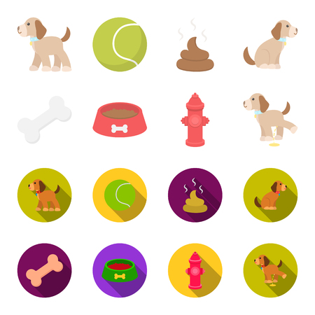A bone, a fire hydrant, a bowl of food, a pissing dog.Dog set collection icons in cartoon,flat style vector symbol stock illustration web.