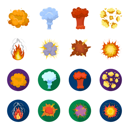 Flame, sparks, hydrogen fragments, atomic or gas explosion, thunderstorm, solar explosion. Explosions set collection icons in cartoon,flat style vector symbol stock illustration web. Banco de Imagens - 102838387