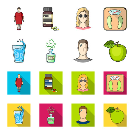 A glass of water, a bottle of alcohol, a sweating man, an apple. Diabeth set collection icons in cartoon,flat style vector symbol stock illustration web.