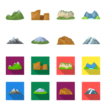 Mountains in the desert, a snowy peak, an island with a glacier, a snow-capped mountain. Different mountains set collection icons in cartoon,flat style vector symbol stock illustration web.