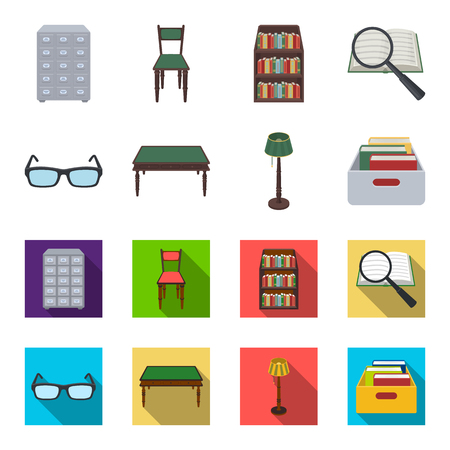 Glasses, a wooden table, a floor lamp, a box with books. A library and a bookstore set collection icons in cartoon,flat style vector symbol stock illustration web. Vectores