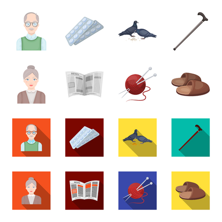 An elderly woman, slippers, a newspaper, knitting.Old age set collection icons in cartoon,flat style vector symbol stock illustration web.