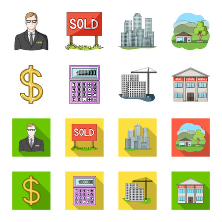 Calculator, dollar sign, new building, real estate offices. Realtor set collection icons in cartoon,flat style vector symbol stock illustration web.