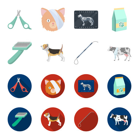 Dog, cow, cattle, pet .Vet Clinic set collection icons in cartoon,flat style vector symbol stock illustration web. Stock Illustratie