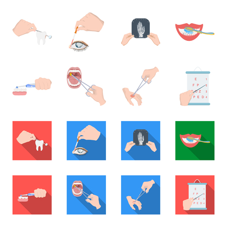 Dental care, wound treatment and other web icon in cartoon,flat style.oral treatment, eyesight testing icons in set collection.