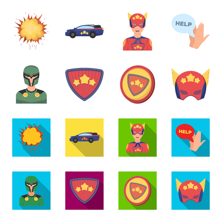 Man, mask, cloak, and other web icon in cartoon,flat style.Costume, superman, superforce, icons in set collection. Иллюстрация