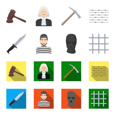 Knife, prisoner, mask on face, steel grille. Prison set collection icons in cartoon,flat style vector symbol stock illustration web.