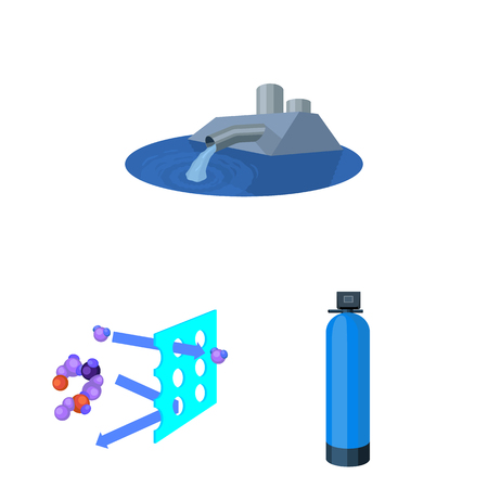 Water filtration system cartoon icons in set collection for design. Cleaning equipment vector symbol stock  illustration.  イラスト・ベクター素材